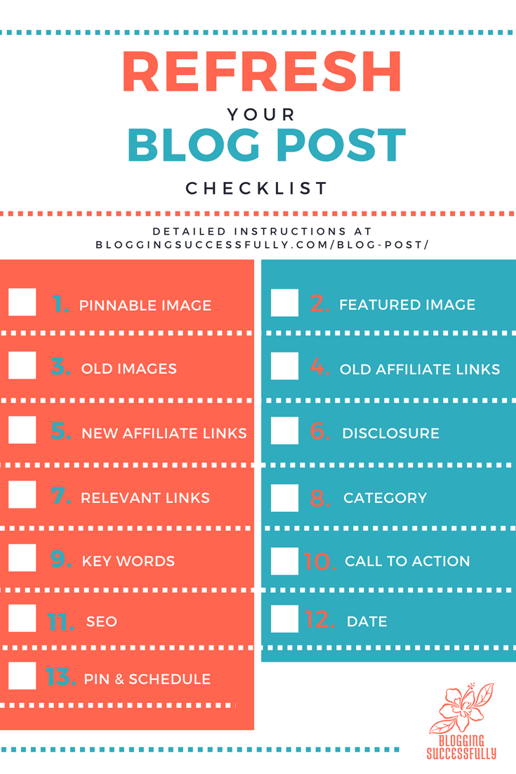 Refresh Your Blog Post Free Printable via Blogging Successfully