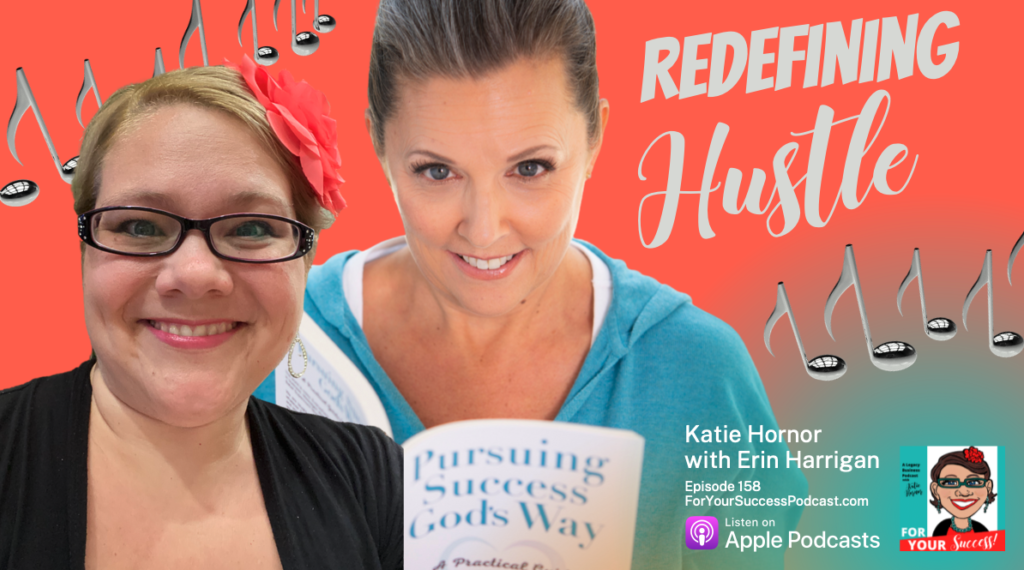 orange and teal background with katie hornor and erin harrington hustle redefined